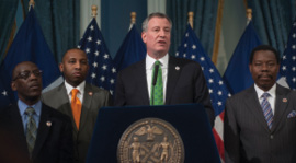 Council members join Mayor Bill de Blasio to announce New York City's paid sick time legislation. Photo: William Alatriste/ NYC Council