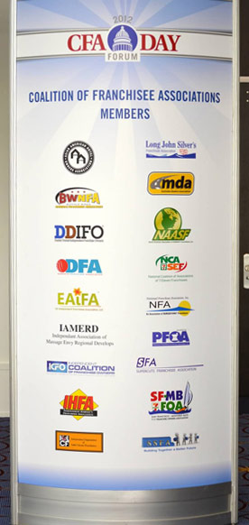 Members of the Coalition of Franchisee Associations are listed on a display at the July 2012 CFA Day event in Washington DC.