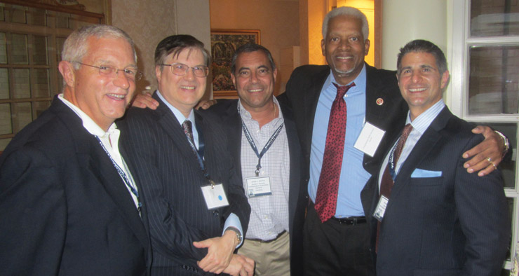 L to R: Dunkin' Donuts franchisees Dave Walck, Ed Wolak, John Motta and Rob Branca with Rep. Hank Johnson, in the red tie.  Johnson is a member of the House Armed Services and House Judiciary Committees.  DDIFO, at the Congressman's request, is scheduling meetings so he can get to know franchise owners from around his district.