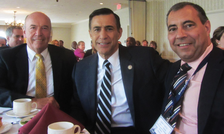 L to R: DDIFO Executive Director Ed Shanahan, Rep. Darrell Issa (R-California) and Dunkin' Donuts franchisee John Motta at the CFA Day Forum Luncheon.