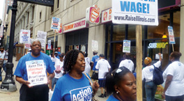 Fast food workers organizing to demand higher minimum wage rates. Here, a protest staged by Action Now, an Illinois-based group. Photo from actionnowdotorg.wordpress.com
