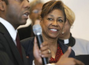 State Sen. Sandra Cunningham (D-Hudson), right, listens to Cornell William Brooks , president and CEO of the New Jersey Institute for Social Justice as he speaks during a rally for 'Ban the Box' legislation at First Baptist Church of Lincoln Gardens in Somerset. Thursday April, 24, 2014 (Patti Sapone/The Star-Ledger)