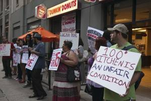 From Liberation News, Dunkin' Donuts workers strike in Chicago, July 19